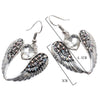 Image of Wings Heart Dangle Drop Earrings