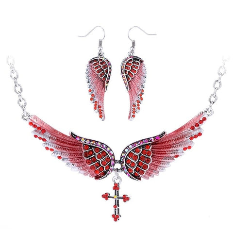 Angel Wing Cross Necklace Earrings Sets Gift
