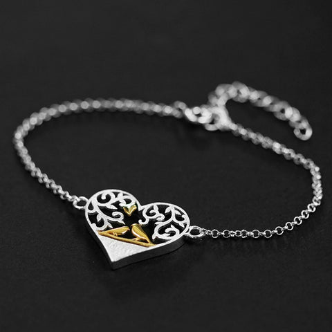 Handmade Romantic Bird in Love Heart Shape Bracelet -925 Sterling Silver