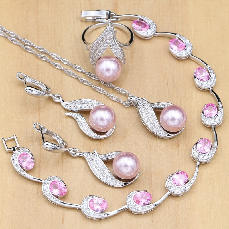 Silver 925 Bridal Jewelry Sets Pink Pearls Beads