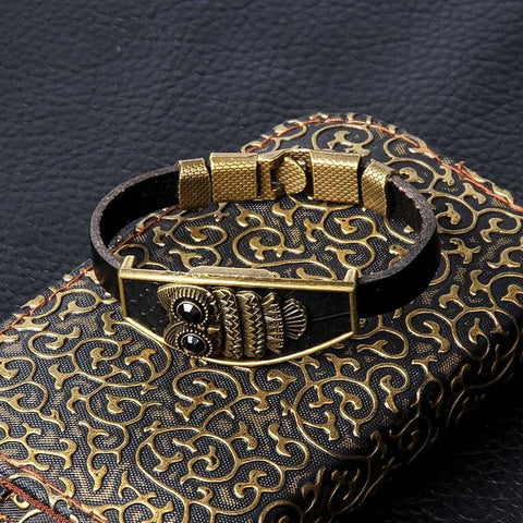 Geometric Bronze Cross Wing Lion Owl Shackles Black Men Leather Bracelet