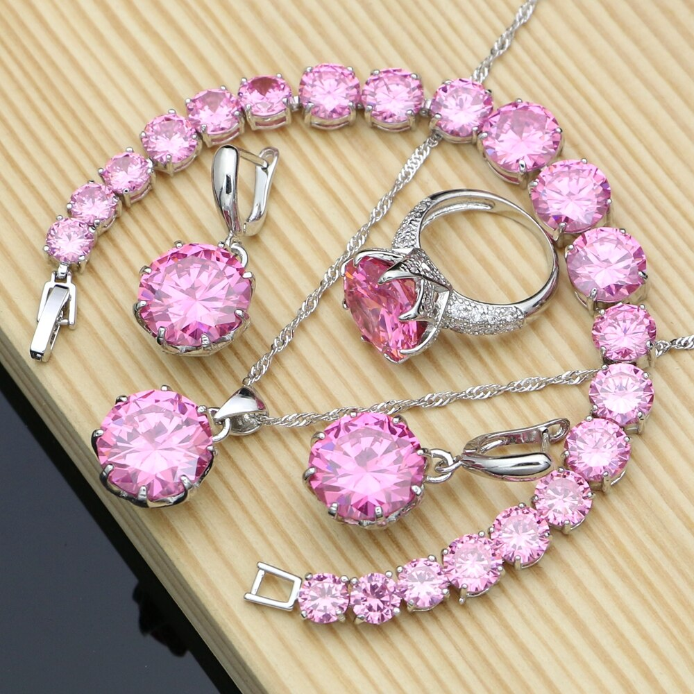 Silver 925 Jewelry Big Pink Cubic Zirconia Costume Jewelry Sets