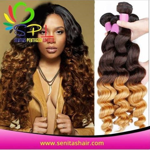 100%  Senitas Ombre Wavy Hair - Senitas Virgin Hair Extension and Wigs