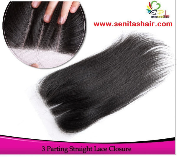 3 PARTING STRAIGHT LACE CLOSURE - Senitas Virgin Hair Extension and Wigs