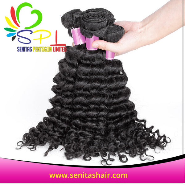 VIRGIN PERUVIAN DEEP CURLY  100% HUMAN HAIR - Senitas Virgin Hair Extension and Wigs