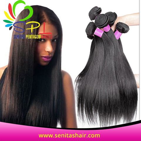 100% BRAZILIAN HAIR STRAIGHT - UNPROCESSED VIRGIN HAIR WEAVE - Senita Hair Extension Houston