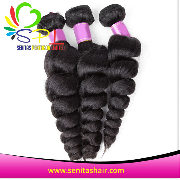 100% HOT SALE BRAZILIAN REMY VIRGIN HAIR - LOOSEWAVE - Senita Hair Extension Houston