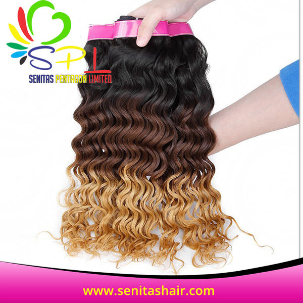 100% 3 TONES PERUVIAN DEEPWAVE OMBRE HAIR - Senita Hair Extension Houston