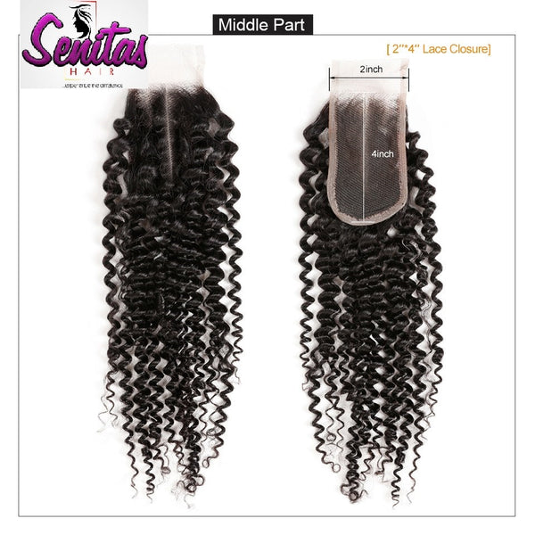 TOP CLOSURE - 2'' X 4'' KINKY - 100% UNPROCESSED VIRGIN HAIR