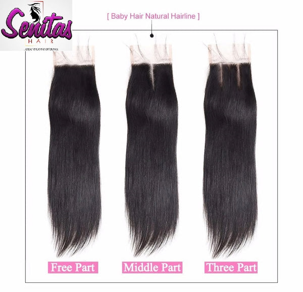 TOP CLOSURE - 2'' X 4'' STRAIGHT - 3 THREE PARTING - Senitas Virgin Hair Extension and Wigs