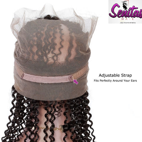 360 Lace Frontal - Kinky Curly 100% Unprocessed Virgin Human Hair - HOT SALE - Senitas Virgin Hair Extension and Wigs