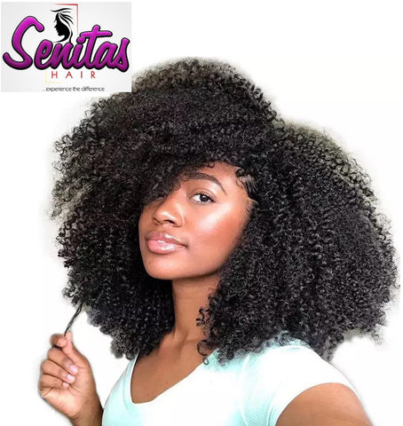 Beautiful Senitas Full Lace Wig Kinky Curls  - 100% Human Virgin Hair Extension Wig