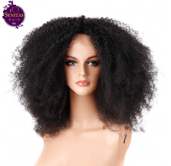 Full Lace Wig Afro Kinky Curls 100% Unprocessed Virgin Remy Hair Wig 180% Density