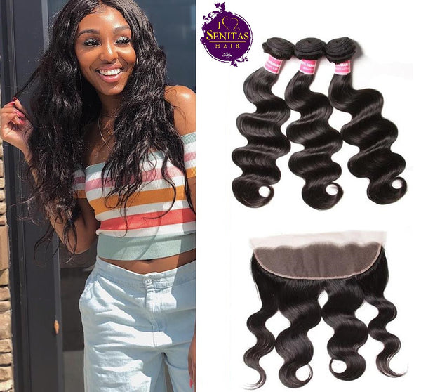 Brazilian Body Wave 3 Bundles + Frontal Closure. 100% Unprocessed Virgin Hair Weaves... Senitas Hair - Senitas Virgin Hair Extension and Wigs