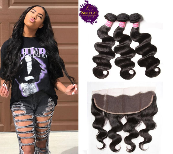 Brazilian Body Wave 3 Bundles + Frontal Lace Closure. 100% Virgin Human Hair Weaves... Senitas Hair - Senitas Virgin Hair Extension and Wigs
