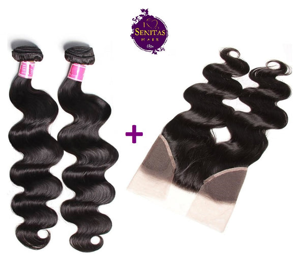 Brazilian Body Wave 2 Bundles + Frontal Lace Closure. 100% Unprocessed Virgin Hair Weaves... Senitas Hair