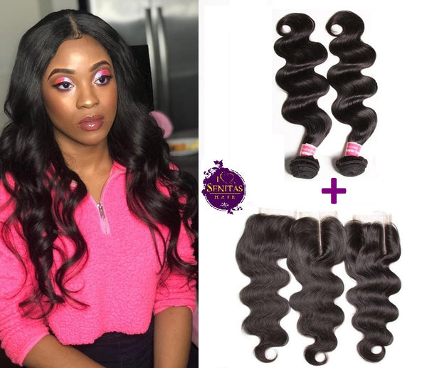 Brazilian Body Wave 2 Bundles + Frontal Closure. 100% Unprocessed Virgin Hair Weaves... Senitas Hair