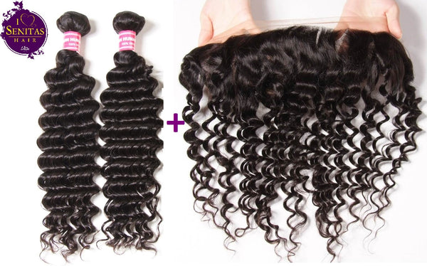 Brazilian Deep Wave 2 Bundles + Frontal Closure. 100% Unprocessed Virgin Hair Weaves... Senitas Hair
