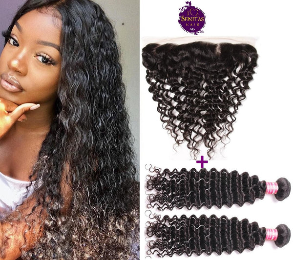 Brazilian Deep Wave 2 Bundles + Frontal Lace Closure. 100% Unprocessed Virgin Hair Weaves... Senitas Hair