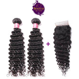 Brazilian Deep Wave 2 Bundles + Top Closure. 100% Unprocessed Virgin Hair Weaves... Senitas Hair