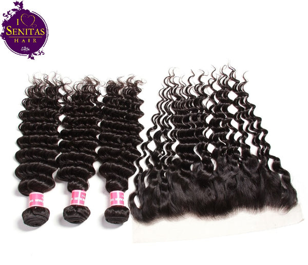Brazilian Deep Wave 3 Bundles + Frontal Lace Closure. 100% Virgin Remy Hair Weaves... Senitas Hair - Senitas Virgin Hair Extension and Wigs