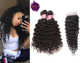 Brazilian Hot Seller Deep Wave 3 Bundles + Top Closure. 100% Unprocessed Virgin Human Hair Weaves... Senitas Hair
