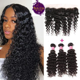 Brazilian Deep Wave 3 Bundles + Frontal Lace Closure. 100% Unprocessed Virgin Hair Weaves... Senitas Hair - Senitas Virgin Hair Extension and Wigs