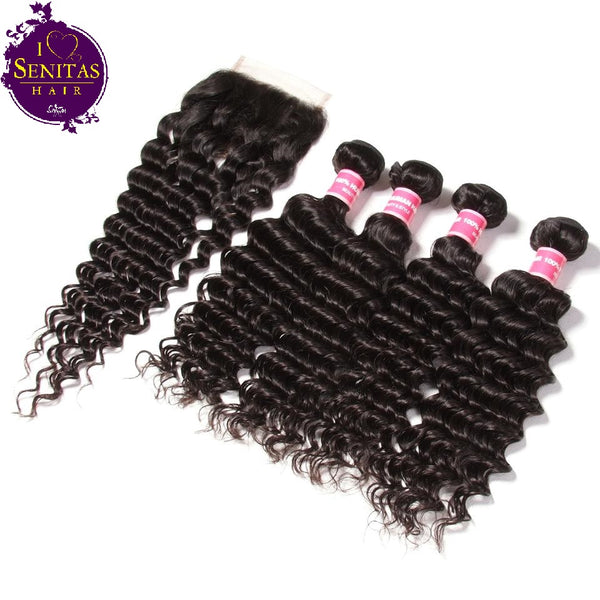 Brazilian Deep Wave 4 Bundles + Top Closure. 100% Virgin Human Hair Weaves... Senitas Hair - Senitas Virgin Hair Extension and Wigs