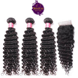 Brazilian Best Seller Deep Wave 3 Bundles + Top Closure. 100% Unprocessed Virgin Human Hair Weaves... Senitas Hair