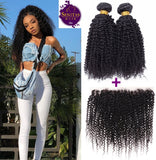 Brazilian Kinky Curls 2 Bundles + Frontal Lace Closure. 100% Unprocessed Virgin Hair Weaves... Senitas Hair