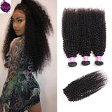 Brazilian Kinky Curls 3 Bundles + Top Closure. 100% Unprocessed Virgin Human Hair Weaves... Senitas Hair