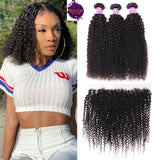 Brazilian Kinky Curls 3 Bundles + Frontal Closure. 100% Unprocessed Virgin Hair Weaves... Senitas Hair - Senitas Virgin Hair Extension and Wigs