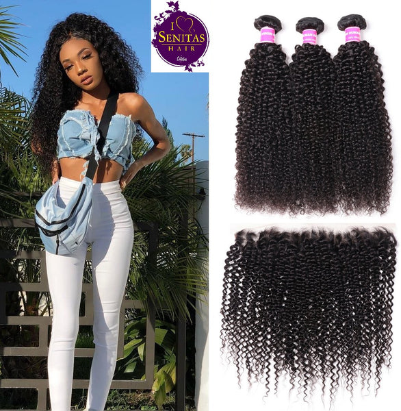 Brazilian Kinky Curls 3 Bundles + Frontal Lace Closure. 100% Unprocessed Virgin Hair Weaves... Senitas Hair - Senitas Virgin Hair Extension and Wigs