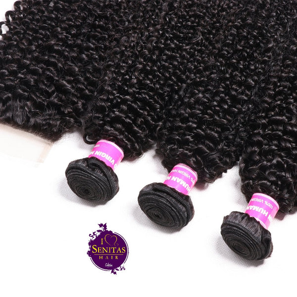 Brazilian Kinky Curls 3 Bundles + Top Closure. 100% Virgin Remy Hair Weaves... Senitas Hair - Senitas Virgin Hair Extension and Wigs