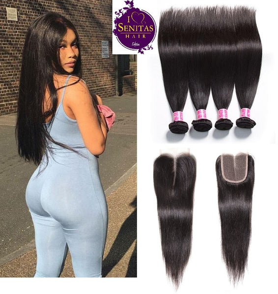 Brazilian Straight 4 Bundles + Top Closure. 100% Virgin Human Hair Weaves... Senitas Hair - Senitas Virgin Hair Extension and Wigs