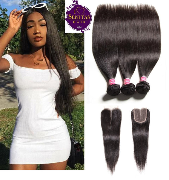 Brazilian Straight 3 Bundles + Lace Top Closure. 100% Unprocessed Virgin Human Hair Weaves... Senitas Hair - Senitas Virgin Hair Extension and Wigs