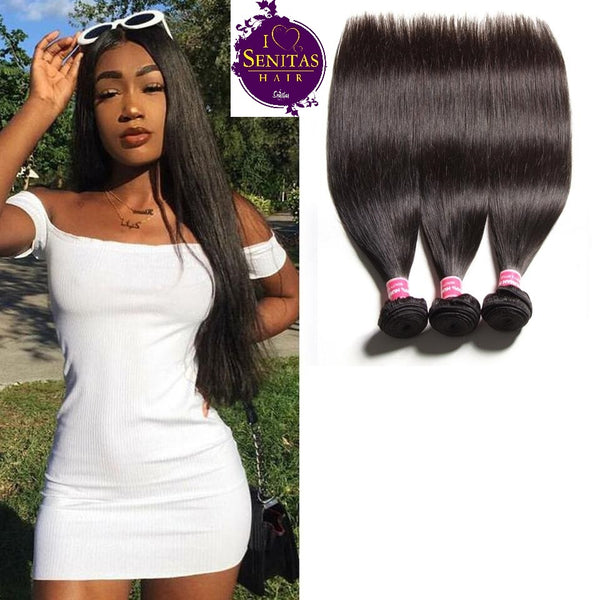 Brazilian Straight 3 Bundles. 100% Virgin Remy Human Hair Weaves... Senitas Hair