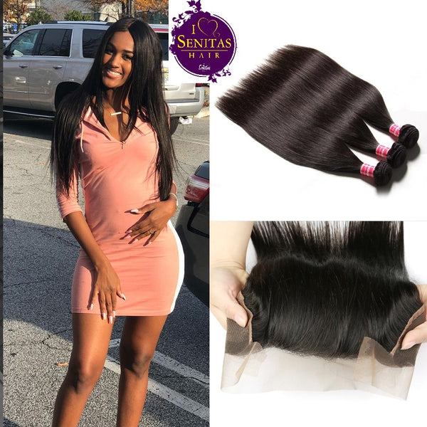 Brazilian Straight 3 Bundles + Frontal Lace Closure. 100% Unprocessed Virgin Hair Weaves... Senitas Hair - Senitas Virgin Hair Extension and Wigs