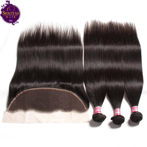 Brazilian Straight 3 Bundles + Frontal Lace Closure. 100% Unprocessed Virgin Human Hair Weaves... Senitas Hair