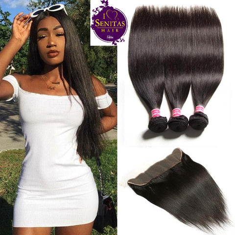 Brazilian Straight 3 Bundles + Frontal Lace Closure. 100% Unprocessed Virgin Remy Hair Weaves... Senitas Hair - Senitas Virgin Hair Extension and Wigs