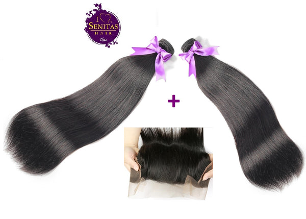 Brazilian Straight 2 Bundles + Frontal Closure. 100% Unprocessed Virgin Hair Weaves... Senitas Hair