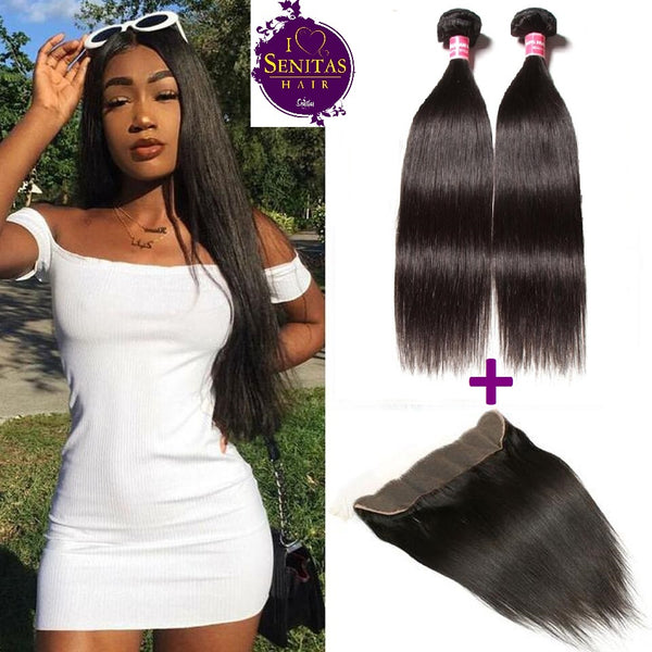 Brazilian Straight 2 Bundles + Frontal Lace Closure. 100% Unprocessed Virgin Hair Weaves... Senitas Hair