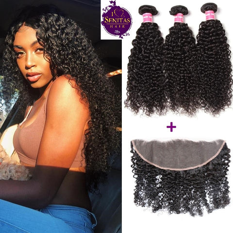 Brazilian Jerry Curls 3 Bundles + Frontal Lace Closure. 100% Unprocessed Virgin Remy Hair Weaves... Senitas Hair - Senitas Virgin Hair Extension and Wigs