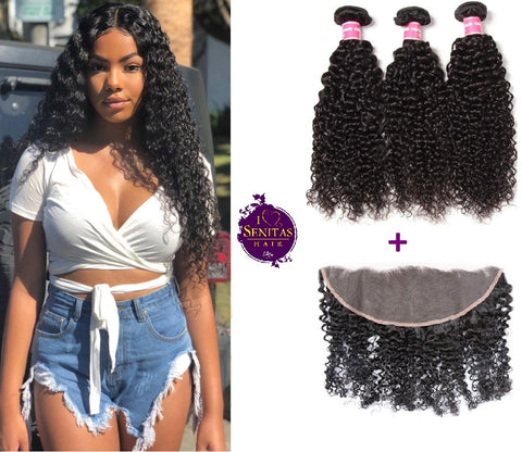 Brazilian Jerry Curls 3 Bundles + Frontal Closure. 100% Unprocessed Virgin Hair Weaves... Senitas Hair - Senitas Virgin Hair Extension and Wigs