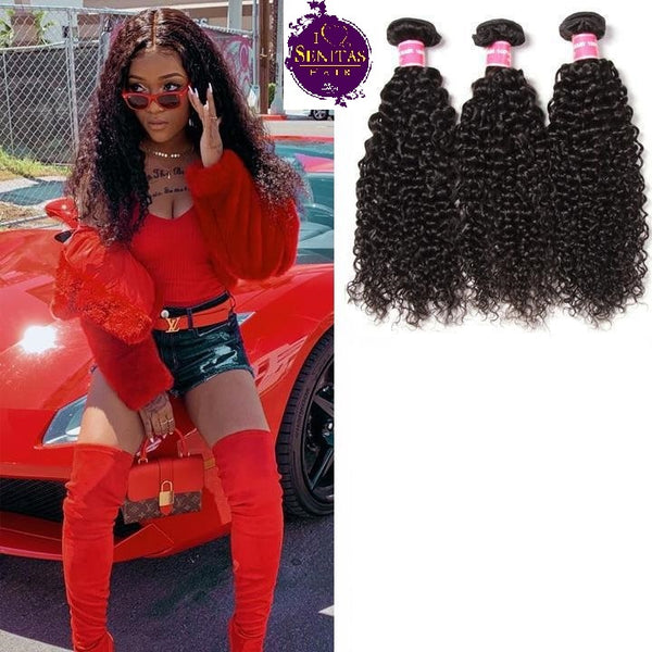 Brazilian Jerry Curls 3 Bundles. 100% Virgin Unprocessed Human Hair Weaves... Senitas Hair - Senitas Virgin Hair Extension and Wigs