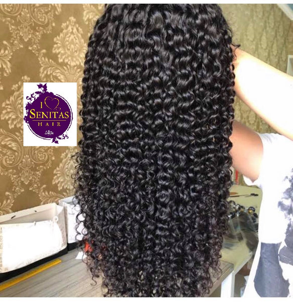 Frontal Lace Wig Jerry Curls Virgin Remy Human Hair Wig on Sale 180% Density - Senitas Virgin Hair Extension and Wigs
