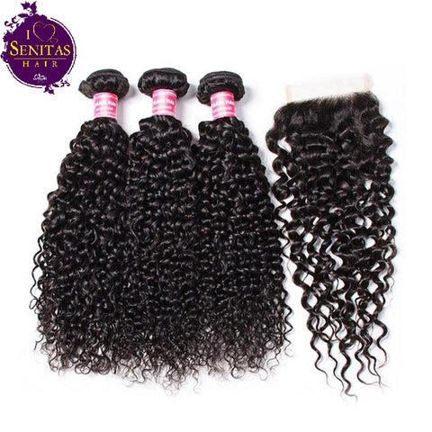 Brazilian Jerry Curls 3 Bundles + Top Closure. 100% Virgin Human Hair Weaves... Senitas Hair - Senitas Virgin Hair Extension and Wigs