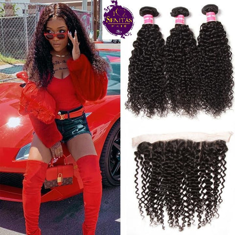 Brazilian Jerry Curls 3 Bundles + Frontal Lace Closure. 100% Unprocessed Virgin Hair Weaves... Senitas Hair - Senitas Virgin Hair Extension and Wigs