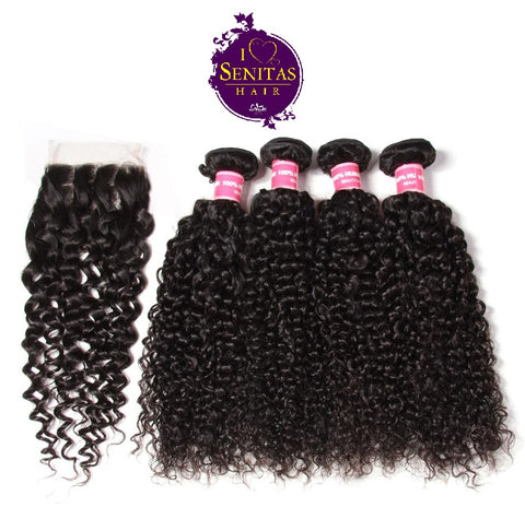 Brazilian Jerry Curls 4 Bundles + Top Closure. 100% Unprocessed Virgin Hair Weaves... Senitas Hair - Senitas Virgin Hair Extension and Wigs