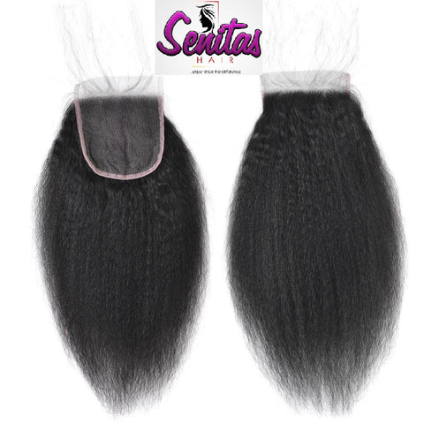TOP CLOSURE - KINKY STRAIGHT - 100% VIRGIN LACE CLOSURE